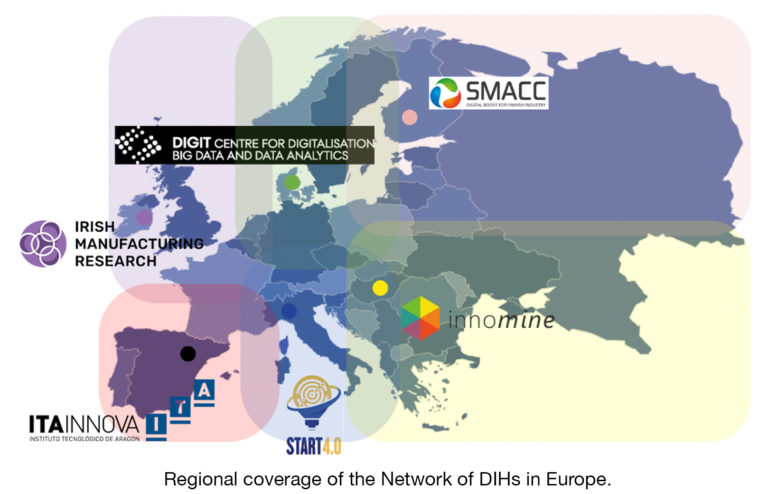 Regional coverage of the DIHs Network in Europe.