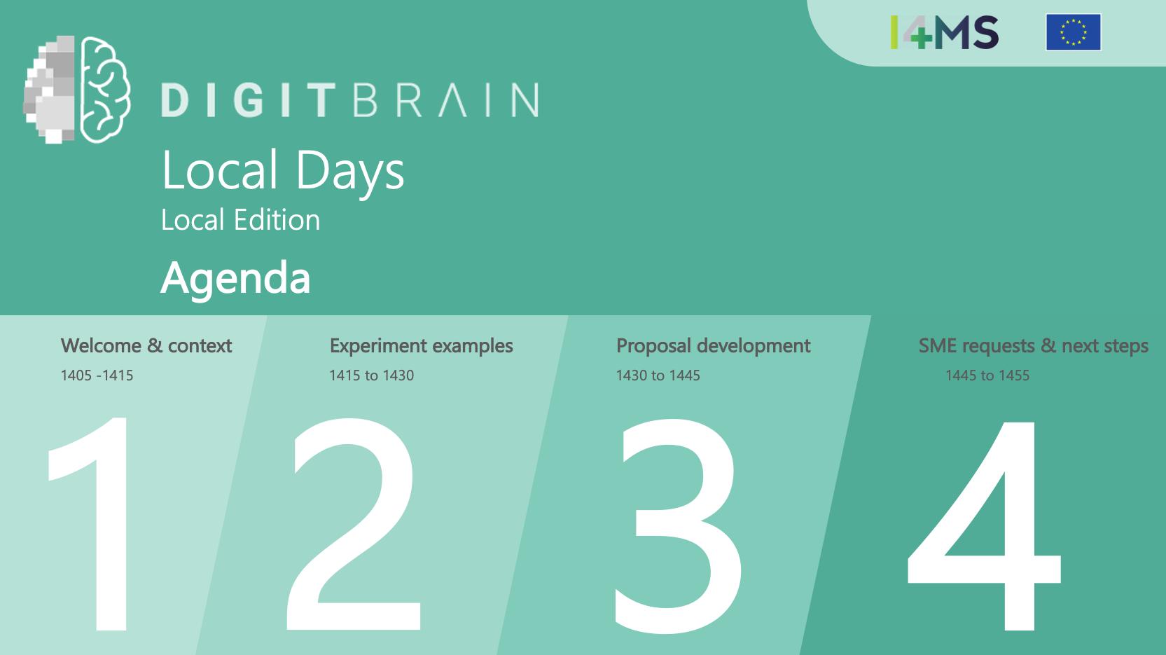 DIGITbrain Local Days Agenda