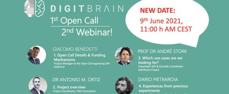 New Date of DIGITbrain Open Call WEbinar